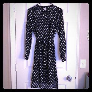Target Merona Polka Dot High-Low button up dress